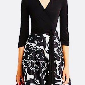 DVF long sleeve black floral print wrap dress